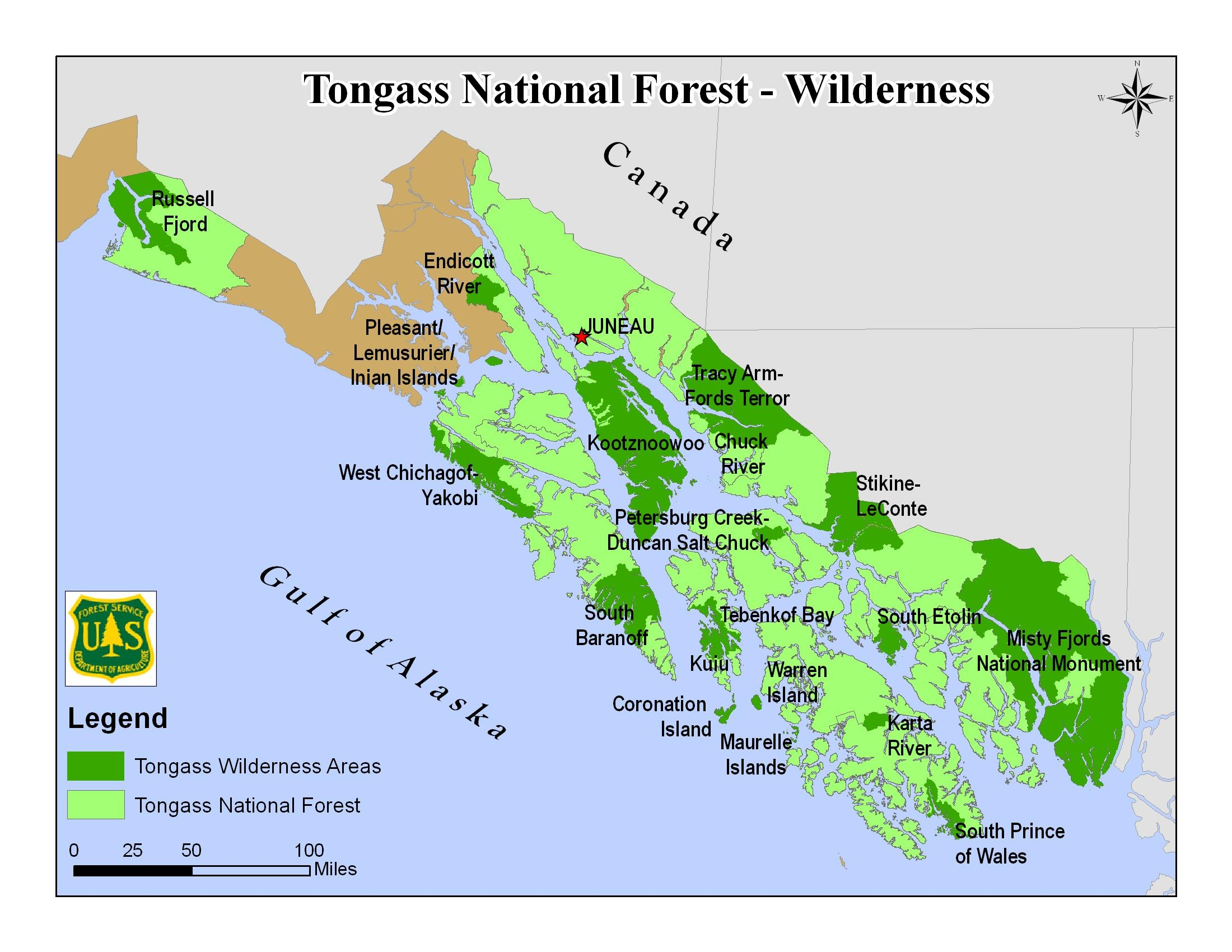 Tongass Wilderness Area Map