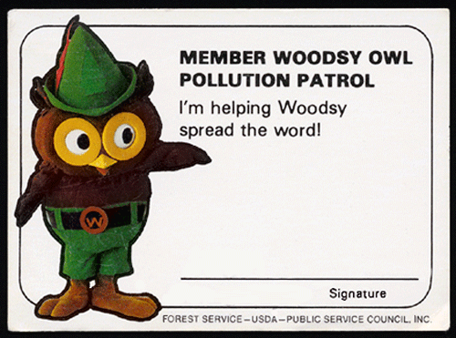wallet card with woodsy owl pollution patrol card
