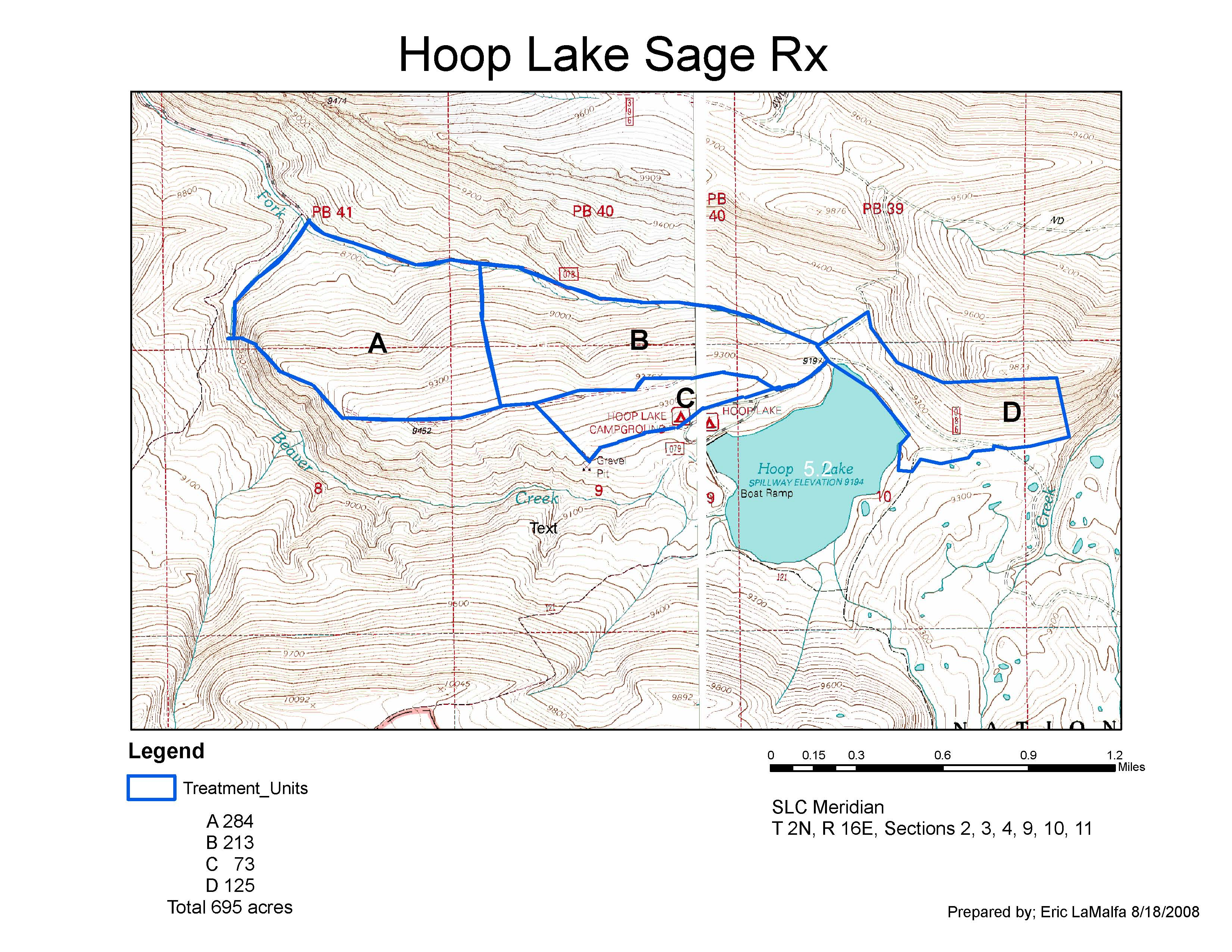 Map Showing the Hoop Lake Prescribed Fire Area on the North Slope of the Uintas