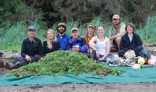 Volunteers with invasive black bind weed plants they pulled from the shoreline.