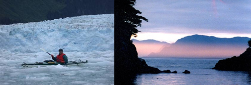 Picture on left: Sea kayaker near a glacier. Picture on Right: Sunrise on the ocean.