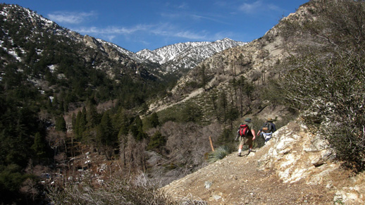 Hikers head off into the Cucamonga Wilderness.