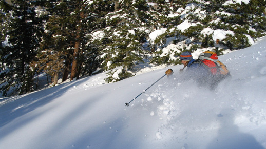 Skiers enjoy cross country sking on Sugarloaf Mountain near Big Bear.