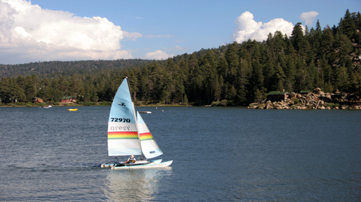 A sailor enjoys a pleasant afternoon on Big Bear Lake.