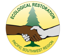 Logo of handshake in front of tree to promote ecological restoration