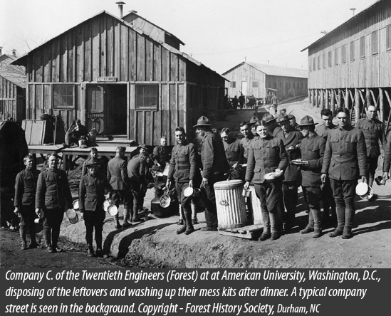 photo from 1917 with forest engineers in uniform washing their mess kits after a meal.