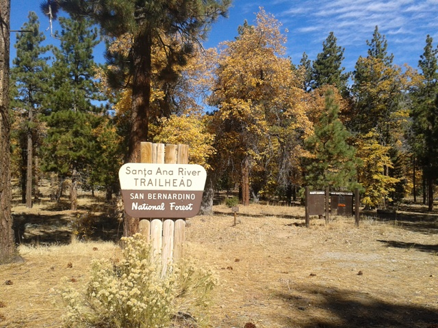 This sign is at the Santa Ana River Trailhead near South Fork Campground.