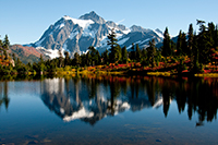 Picture Lake Path is a popular trail off the Mt. Baker Highway with views of Mt. Shuksan, one of the most photographed mountains in the Pacific Northwest. Veteran's Day weekend visitors can hike this trail for free. Photo by Kelly Sprute, US Forest Service.