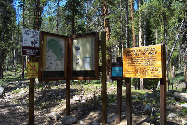 Trail signage on the Lower Boulder Lake trail in the White River National Forest, located in central Colorado