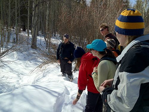 Photo of biologist and students looking at tracks in snow.