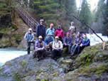 volunteer group by Salmon Creek trail bridge