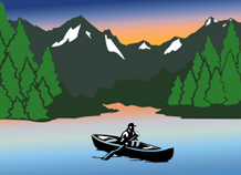 An illustration that shows a boater in water surrounded by trees and snow-capped mountains.