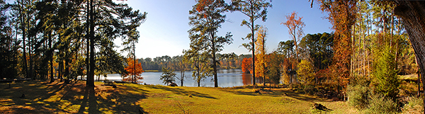 Autumn foliage surrounding Ratcliff Lake on the Davy Crockett National Forest.