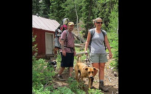 Image of 2 hikers, with a baby in pack and two dogs