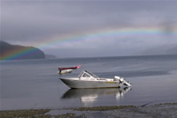 Pack Creek boat and rainbow