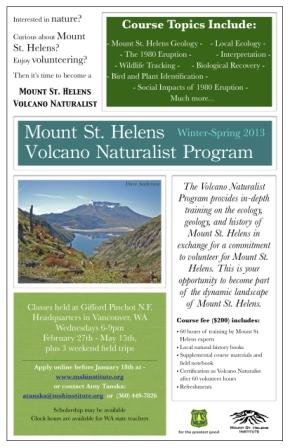 this is an image of the flyer for the Volcano Naturalist Program