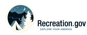 This logo showing a tent and trees is the official logo for the Recreation.gov website.
