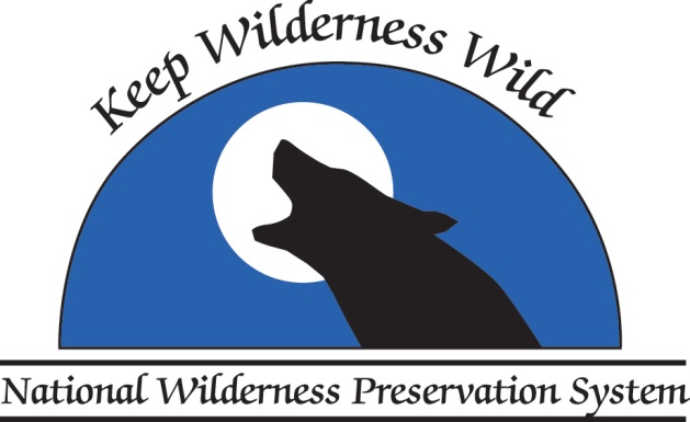 Keep Wilderness Wild logo shows a howling wolf