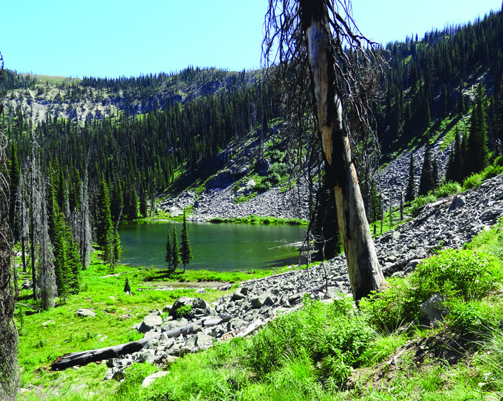 Photo of an alpine lake peacefully nestled within the mountains and hills of the Magruder Corridor.