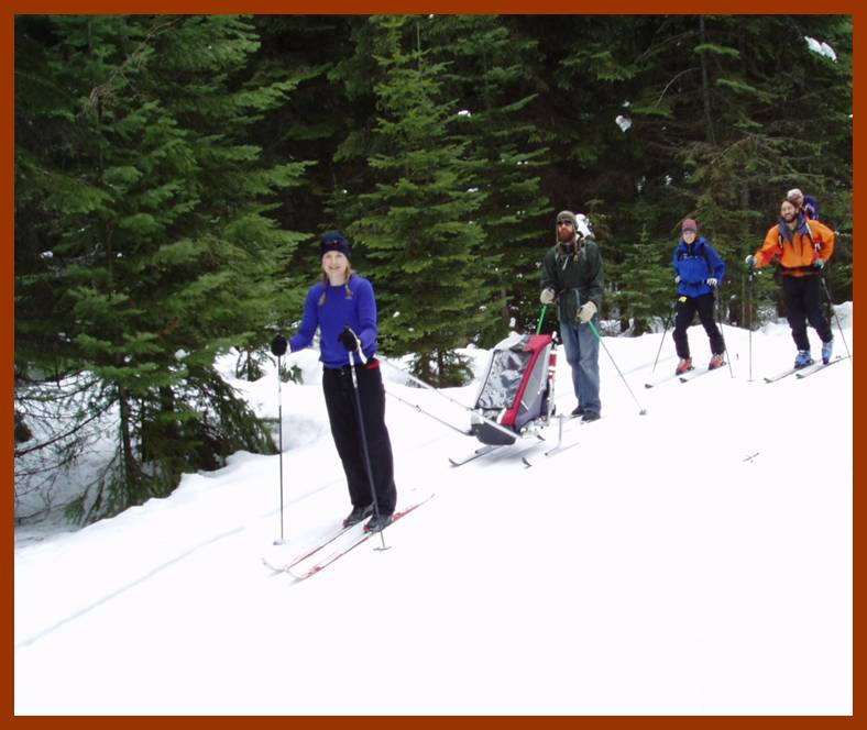 Cross country skiers enjoy a day of fun at the Fish Creek Meadows groomed ski trails