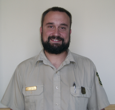 Nicholas Racine, Interpretive Services Specialist at the Begich, Boggs Visitor Center.