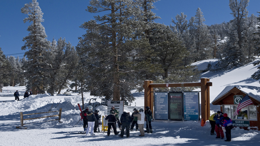 Color photo of Ski with a Ranger meeting area located at the top of the gondola.