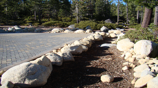 Color photo of the new stone parking area and swale at the Kehlet House, Meeks Bay Resort.