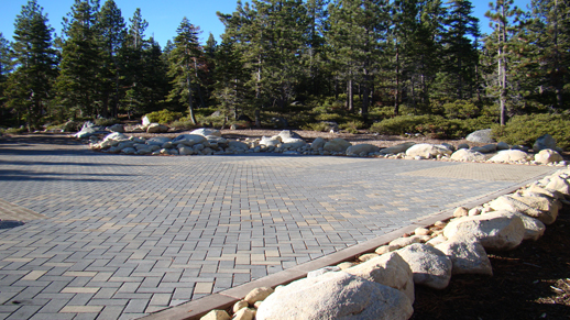 Color photo of the new stone parking area at the Kehlet House, Meeks Bay Resort.
