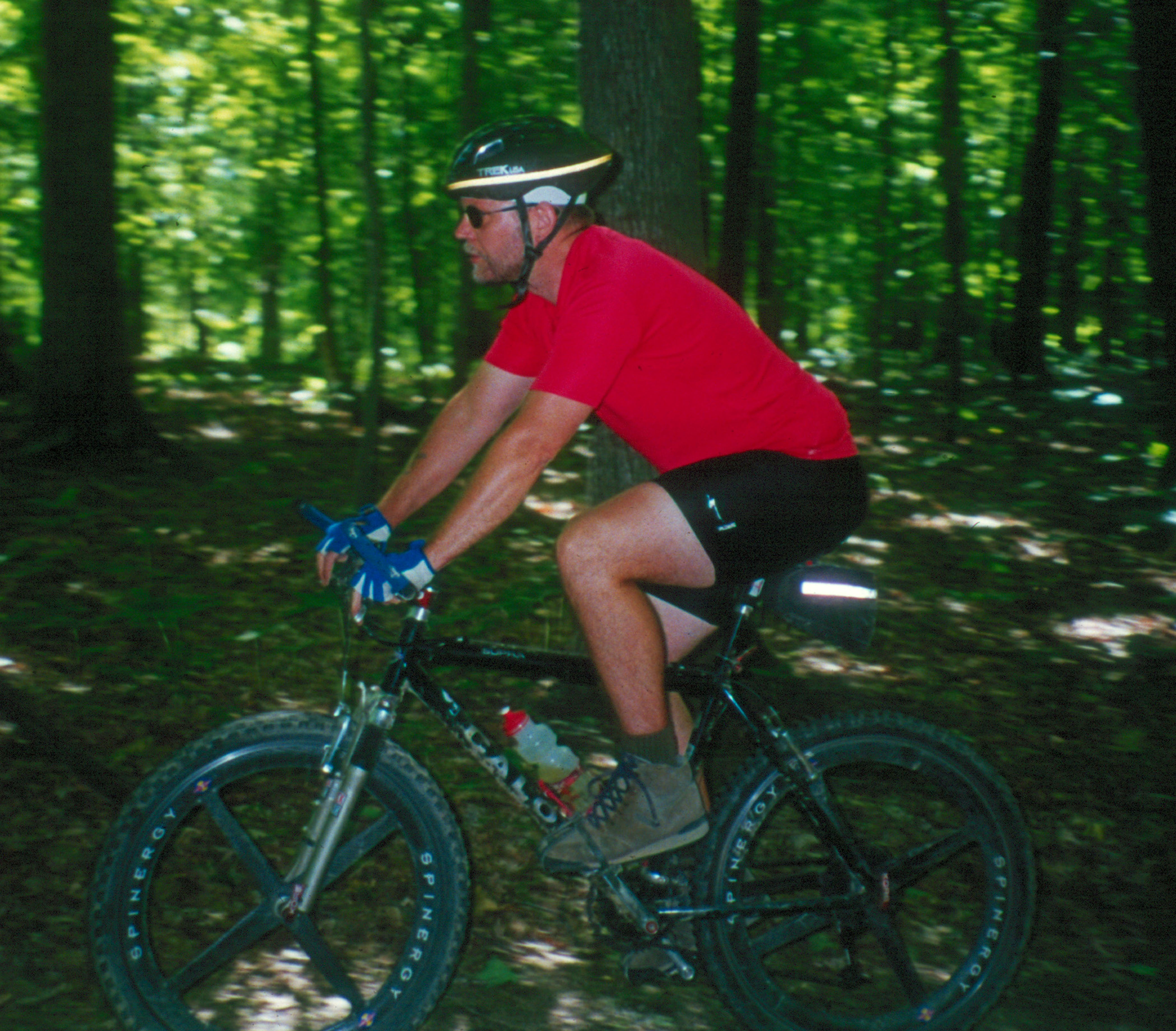 Mountain Bike Rider on Forest Trail