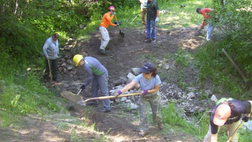 Photo: Forestry Technicians (Trails) doing trail improvements at a stream crossing.
