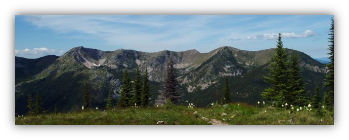 A landscape photo of a wilderness area on the Colville National Forest