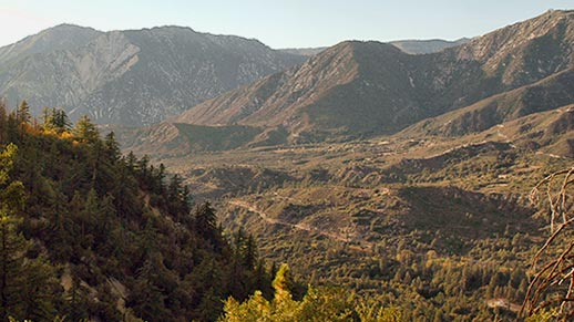 Panoramic view of a rocky, mountainous wilderness area.