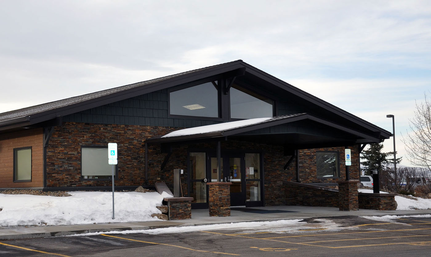 Front of the Supervior's and Dillon District office building and parking lot.