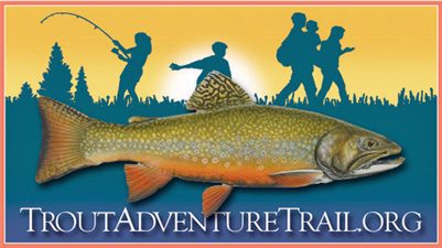 Image of a brook trout in the foreground with a blue silhouette of kids & adults fishing & hiking.