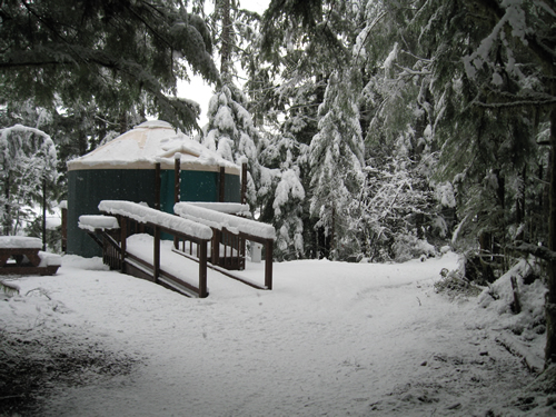 Yurt at Coho Campground in winter. Each yurt has a ramp for easier access.