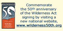 Wilderness Act Signing 50th Anniversary logo and link to www.wilderness50th.org website