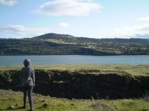A person looks across the Columbia River at the landscape.