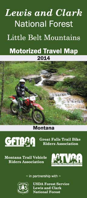 Graphic showing the cover of the Little Belt Mountain Motorized Travel Map
