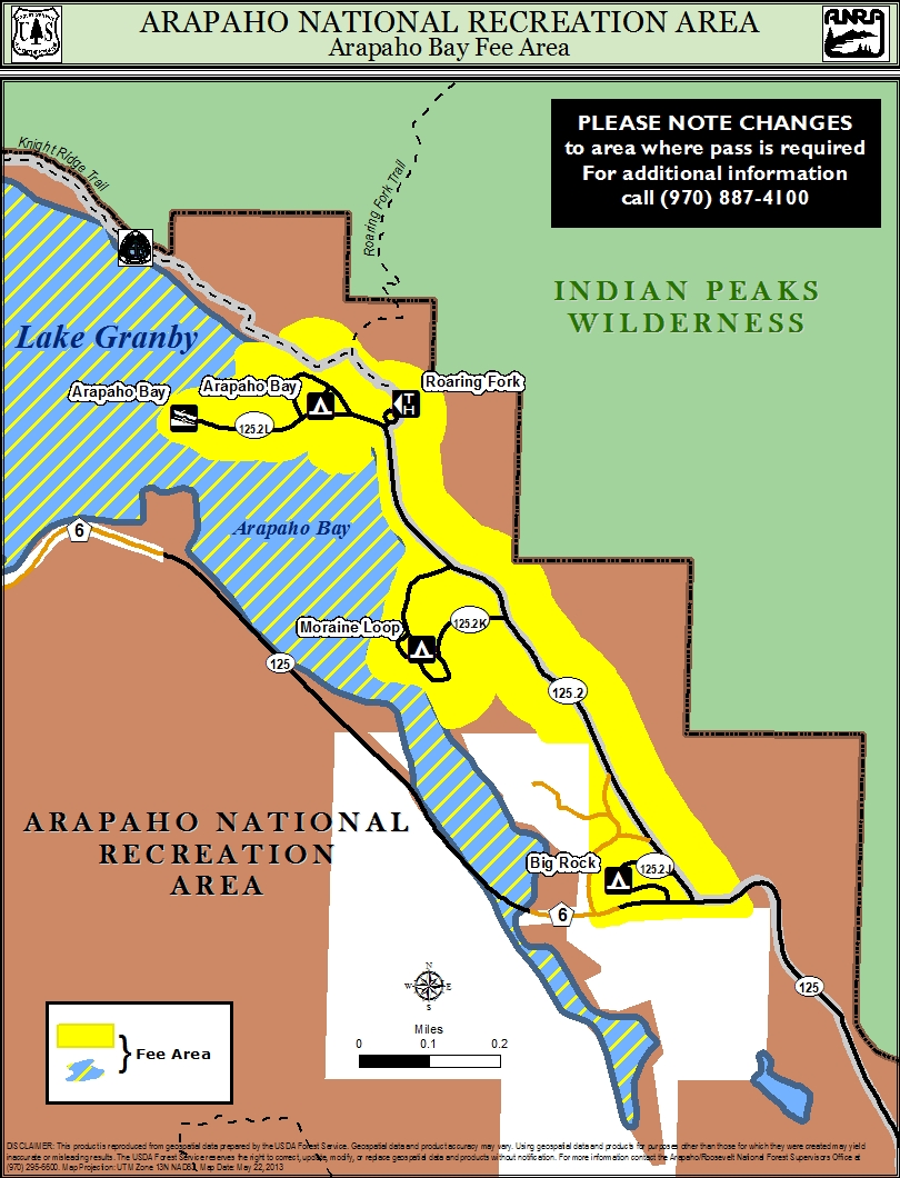 Map of arapaho bay area where fee is required