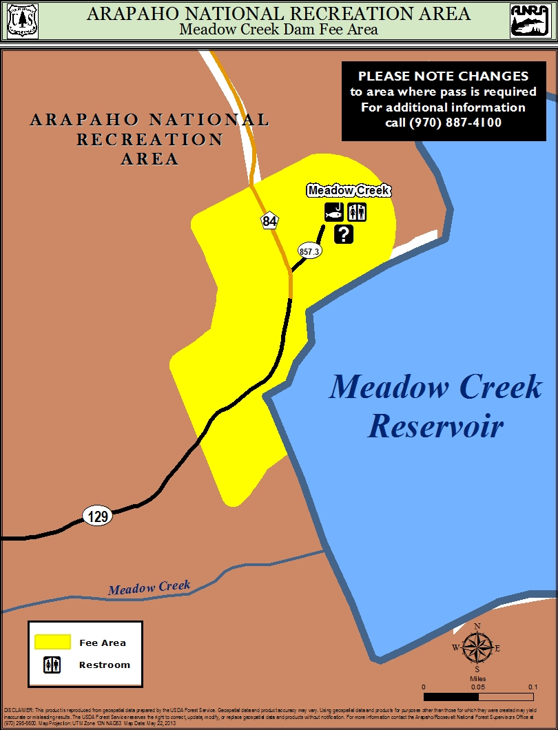 Map of meadow creek dam area where fee is required