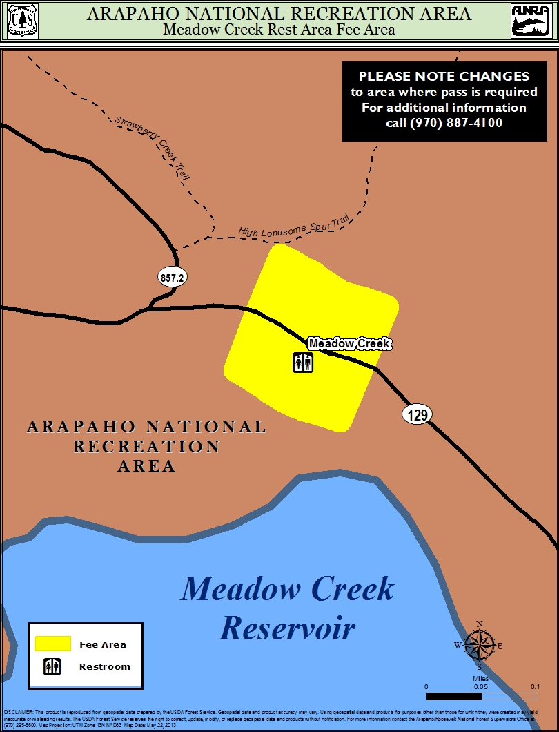 Map of meadow creek  rest  area where fee is required