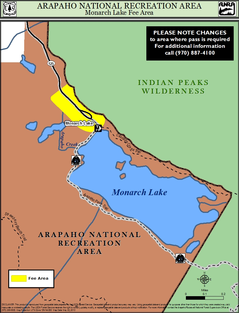 Map of Monarch Lake area with fee areas highlightes