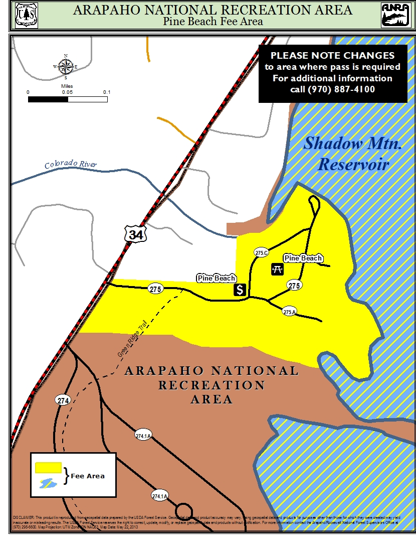 Map of pine beach area where fee is required
