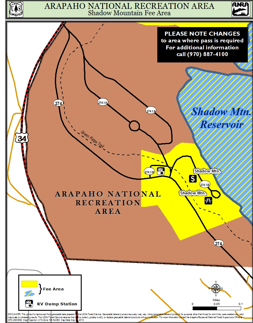 Map of shadow mountain area where fee is required