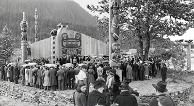 1940 gathering photo courtesy of the Wrangell Museum.