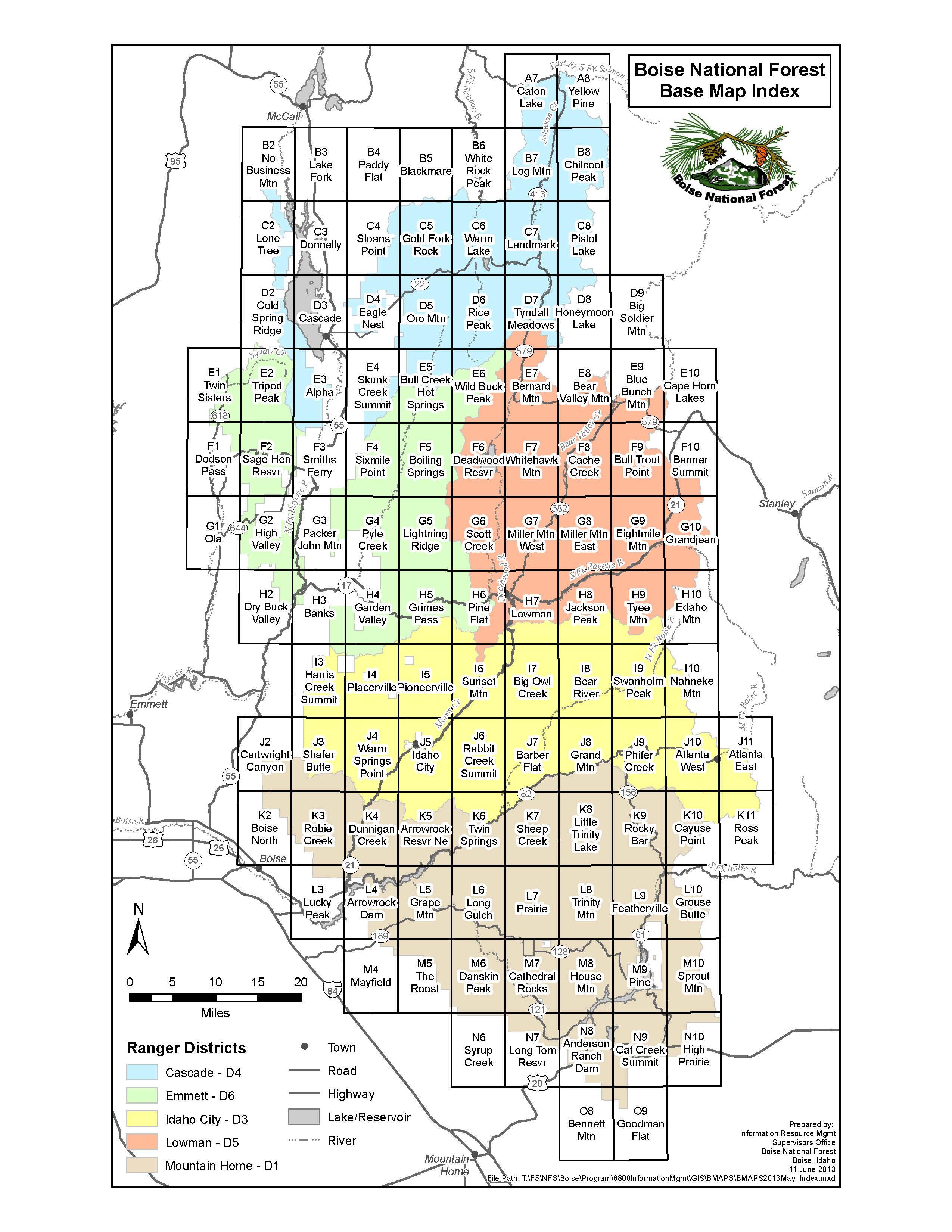Boise National Forest Maps Publications - Usgs quad maps