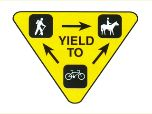 yield sign for hikers, bikers and equestrians