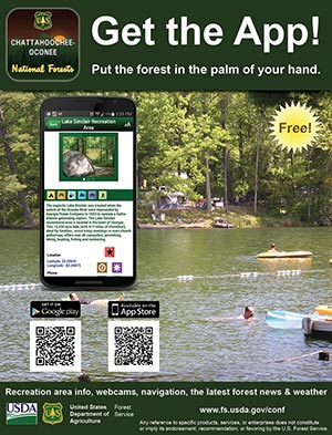 A small version of the promotional flyer for the Chattahoochee-Oconee National Forests mobile app.