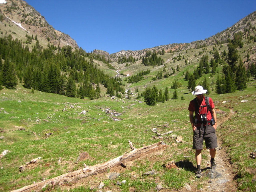 Hiker heading back from Twin Lakes (Elkhorn Mountains) June 2013