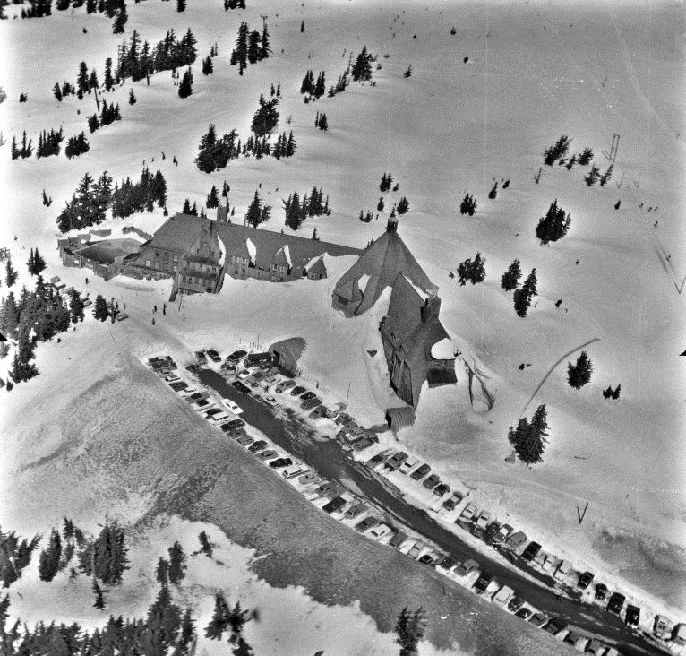 Aerial view of Timberline Lodge
